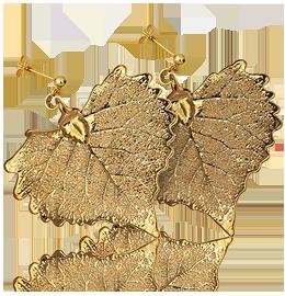 Orecchini a Bottone in Oro 24k Con Foglia di Piuma di Vermeil